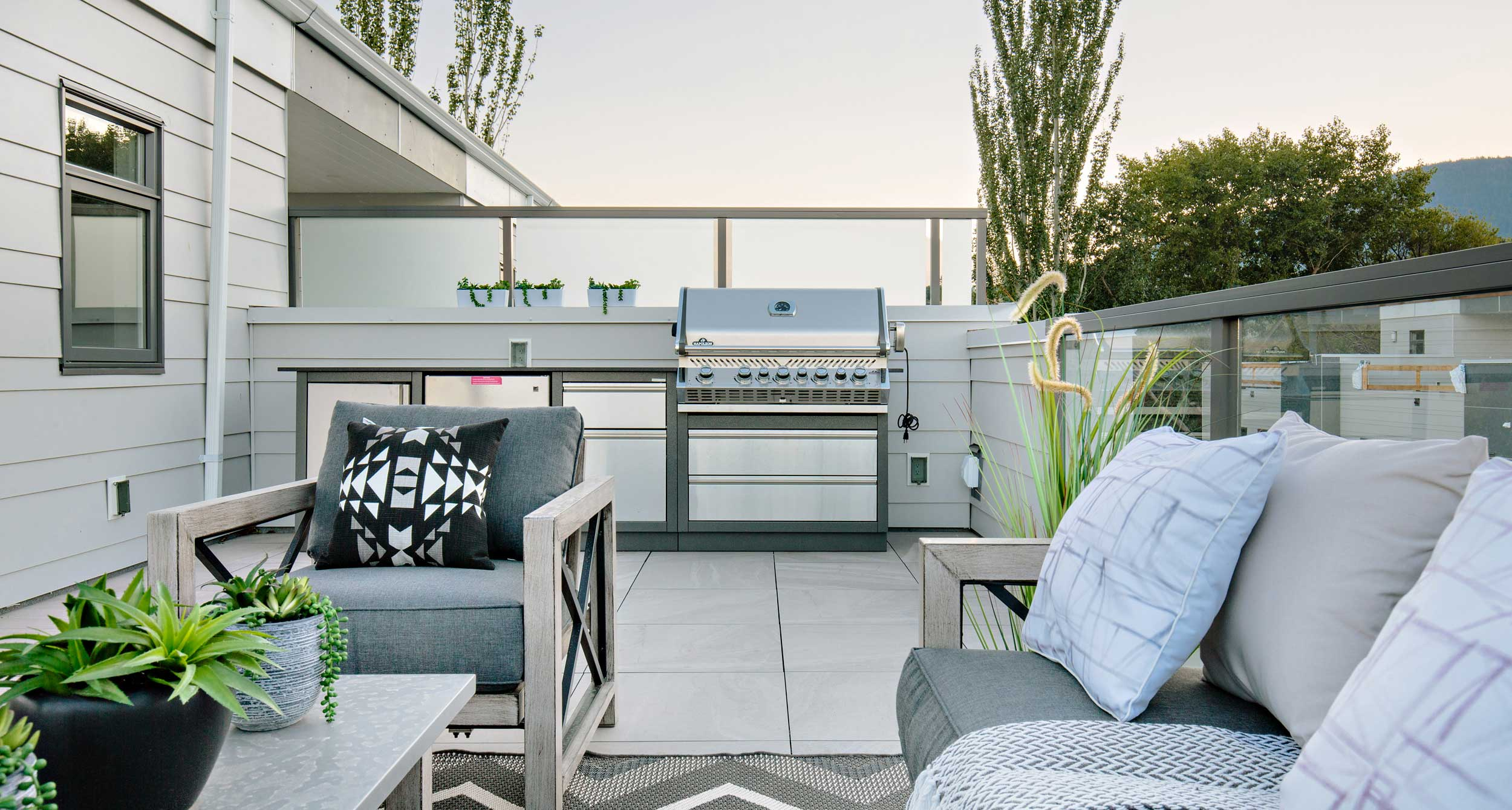 Rooftop features hot tub electrical rough-in; both  rooftop and 2nd floor patio are gas bbq-ready.